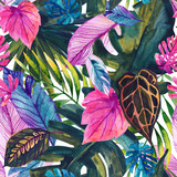 Watercolor tropical leaves seamless pattern - 200885830