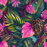 Water color tropical floral painting seamless pattern. - 200885893