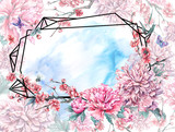 Watercolor polygonal frame with pink flowers - 200886263