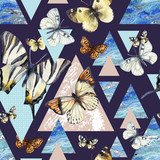 Watercolor triangles with butterfly and marble grunge textures - 200886267