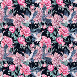 Watercolor seamless pattern with crane, pink peonies - 200886807
