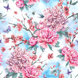 Watercolor seamless pattern with blooming cherry, peonies, - 200888255