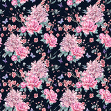 Watercolor seamless pattern with blooming cherry, peonies, - 200888478