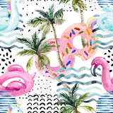 Water color flamingo pool float, donut lilo floating on 80s 90s background. - 200888619