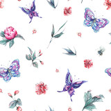 Watercolor seamless pattern buds and butterflies - 200889092