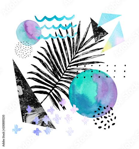 Grafika z Tropikalnymi liśćmi na geometrycznym tle, akwarela, doodle tekstury.