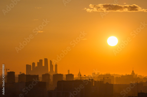 Fotobehang Moskou Moscow City Business Center and Moscow Cityscape Silhouette in Evening Haze. Russia