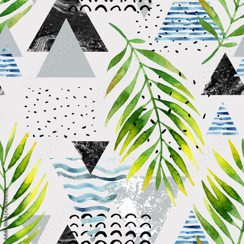 Triangles with palm tree leaves, doodle, marble, grunge textures, geometric shapes in 80s, 90s minimal style. - 200891202
