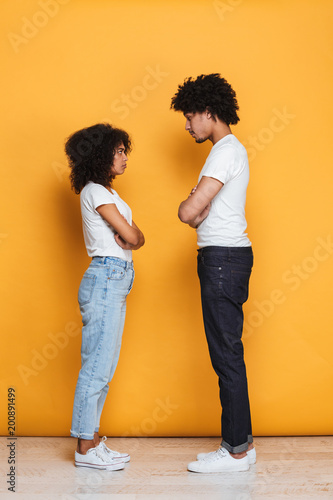 Full length portrait of an upset afro american couple