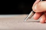 Fountain pen on an antique handwritten letter - 200893238
