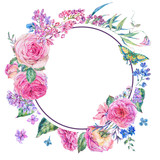 Watercolor pink roses and lilacs round frame - 200895401