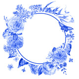 Watercolor blue roses and lilacs round frame - 200895607