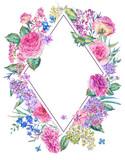 Vertical watercolor roses greeting card - 200895829