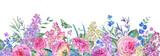 Horizontal watercolor roses greeting card - 200896692