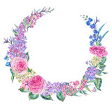 Watercolor pink roses and lilacs wreath - 200897486