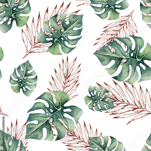 Watercolor tropical seamless pattern with monstera leaves and outline branches. Trendy pattern for wallpapers, web page backgrounds, fabric. - 200898648