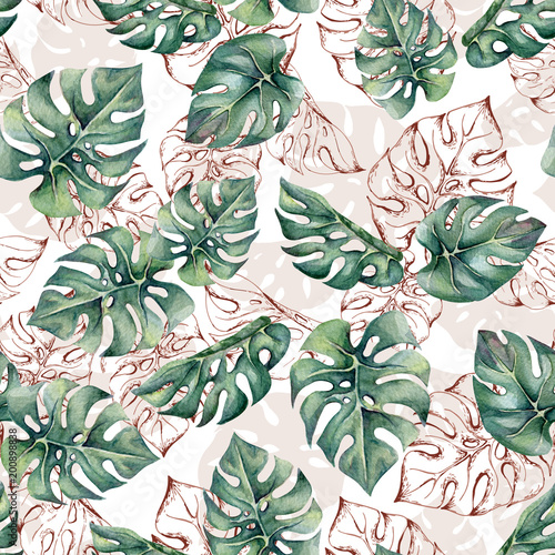 Tropical seamless pattern with watercolor and outline monstera leaves. Trendy pattern for wallpapers, web page backgrounds, fabric. - 200898838
