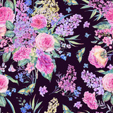 Watercolor seamless pattern with roses, lilacs - 200899037