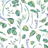 Watercolor seamless pattern with green leaves - 200899222