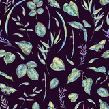 Watercolor seamless pattern with green leaves - 200899418