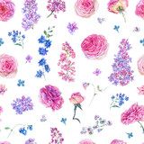 Watercolor seamless pattern with pink roses, lilacs - 200899455
