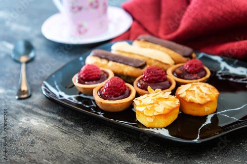 Sticker Mixed dessert Raspberry tartlet, Eclair Puffs, almond lemon