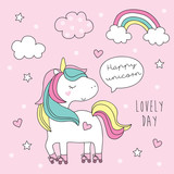 cute roller skater unicorn vector illustration