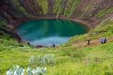 Kerið volcanic crater lake also called Kerid or Kerith in southern Iceland is part of the Golden Circle route