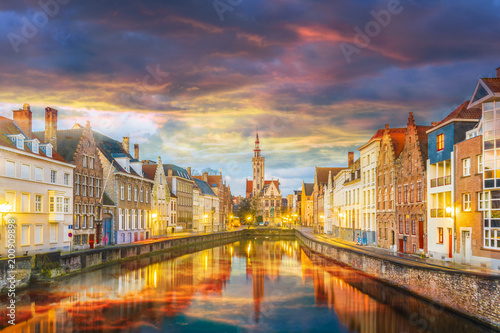 Canvas Brugge Spiegelrei canal and Jan Van Eyck Square at sunset time, Belgium