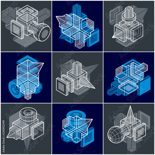3D engineering vectors, collection of abstract shapes. - 200912049