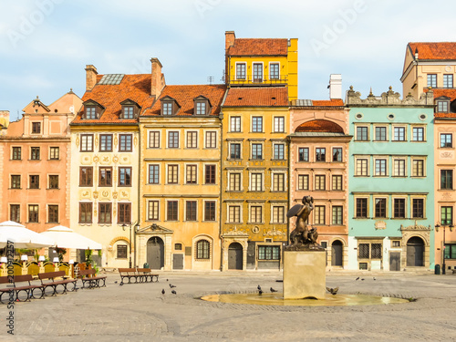 Old Town of Warsaw, Poland. Warsaw postcard. Old colorful buildings in the Central part of Warsaw city