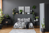 Grey floral bedroom interior
