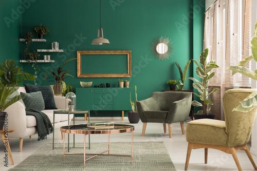 Green spacious living room interior - 200913642