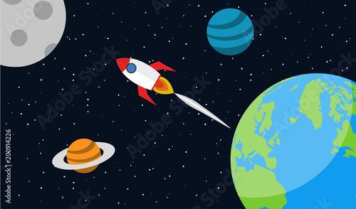 Fototapeta Start space rocket ship. Earth planet. Flat vector illystration.