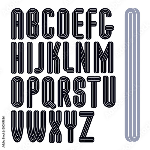 Set of vector capital tall funky alphabet letters isolated with parallel lines, can be used for logo creation in entertainment business.
