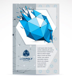 Digital innovations business promotion idea, brochure head page. Abstract cracked construction vector, dimensional blue low poly design.