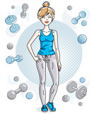 Attractive young blonde sportswoman adult standing on simple background with dumbbells and barbells. Vector illustration of lady wearing leggings and T-shirt.  Sport style.