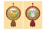 Cute animals cartoon on dream catcher