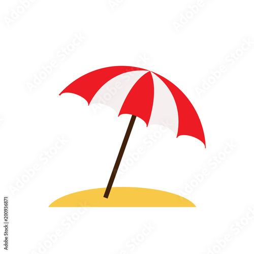 Beach umbrella isolated on white background. Vector stock.