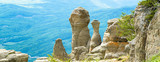 Amazing panoramic view of rock formations in Crimea
