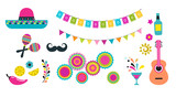 Mexican fiesta, Cinco de Mayo, birthday elements and icons