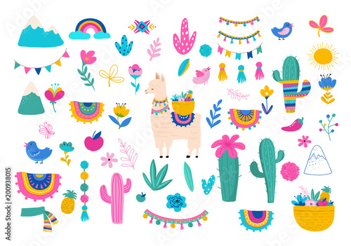 Llama illustration, cute hand drawn elements and design for nursery design, poster, greeting card - 200938015