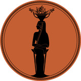 Zodiac in the style of Ancient Greece. Virgo. Woman of ancient Greece, on a tripod and an amphora with olive branches on her head. Black figure inscribed in a circle surrounded by a fret - 200940676