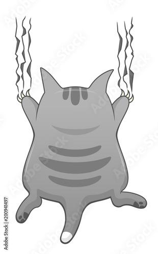 Cartoon cute cat scratching - 200941497