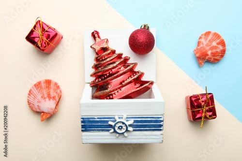 Choinka i muszle. Letnie Boże Narodzenie.