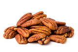 Fototapety A bunch of peeled pecans on a white, isolated.