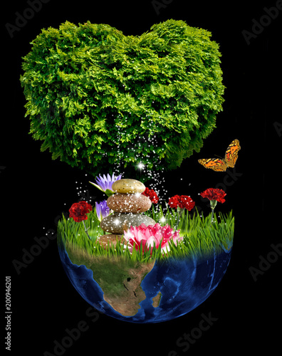 stylized image of tree, planet and flowers - 200946201