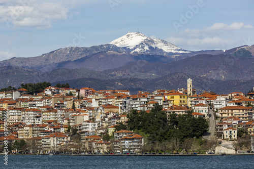 Fototapeta View of Kastoria city and Orestiada lake