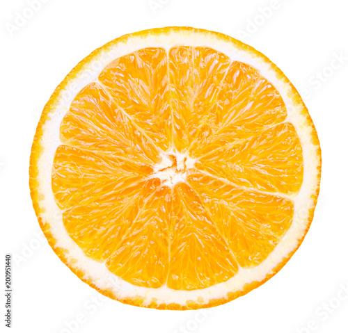 Odosobniona pomarańczowa owoc. Plasterek świeża pomarańcze odizolowywająca na białym tle z ścinek ścieżką