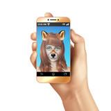 Cute Animal Faces Smartphone Mobile App Composition